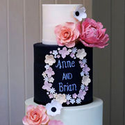 wedding cake with chalkboard writing