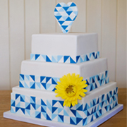 wedding cake with geometric triangles