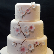 wedding cake with flower branch