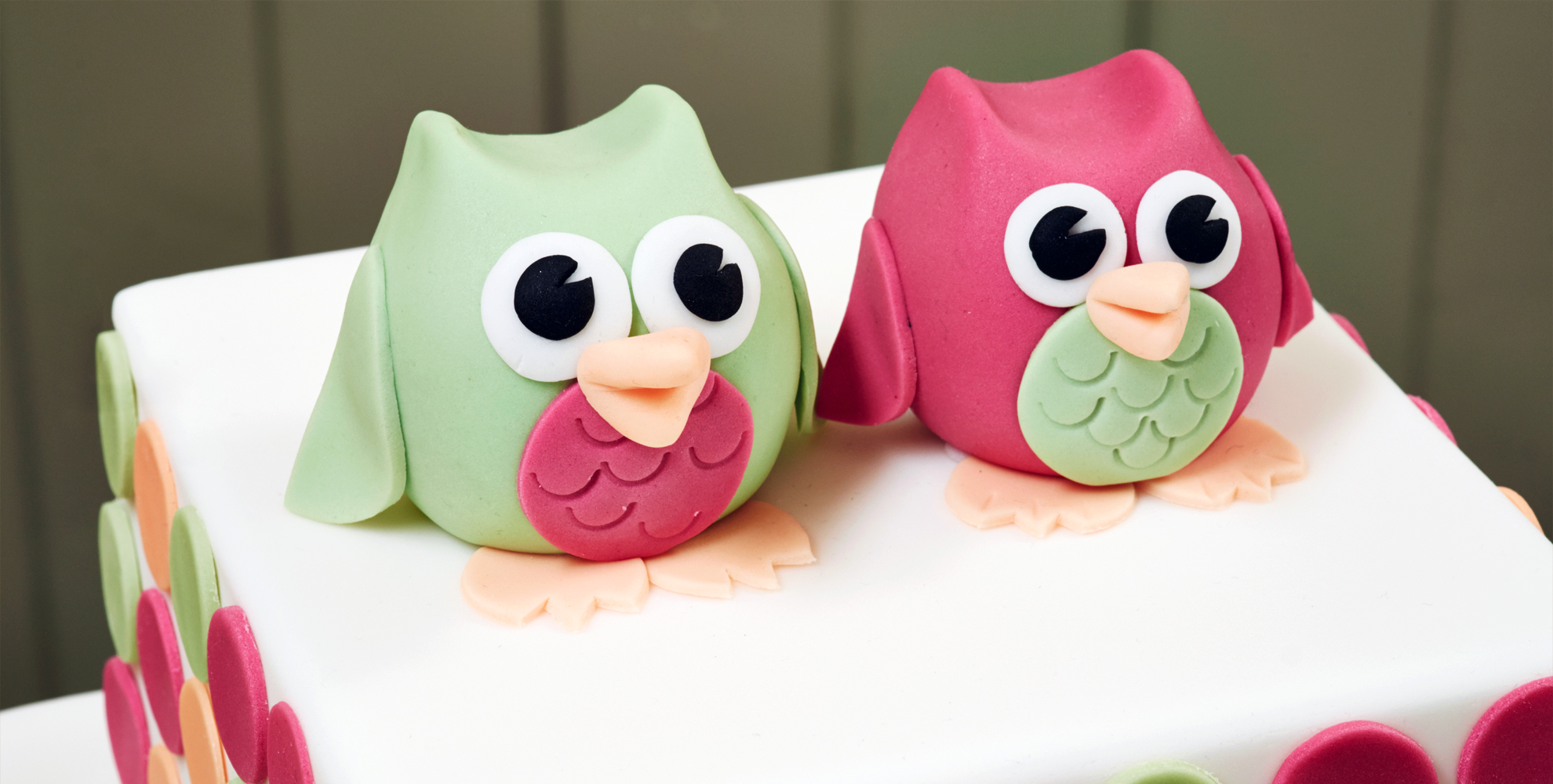 wedding cake with colourful owl models
